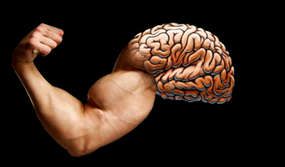 a brain with an arm flexing