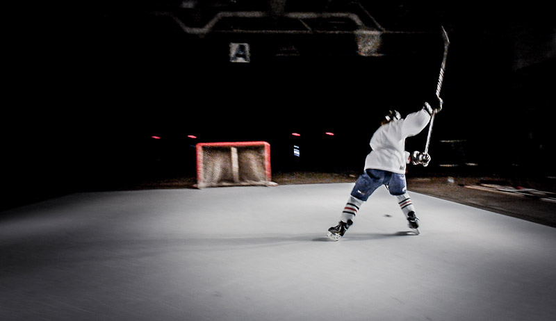 shooting on synthetic ice