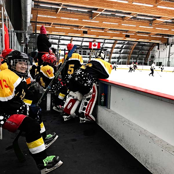 wickfest hockey players on the bench